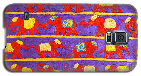 Galaxy S5 Case featuring the painting Saffron Elephants by Cassandra Buckley