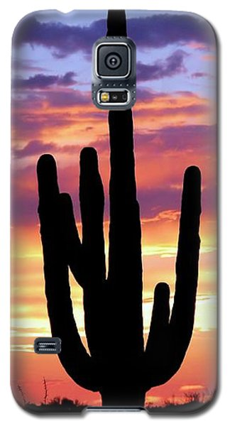 Galaxy S5 Case featuring the photograph Saguaro At Sunset by Elizabeth Budd