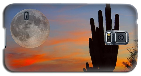 Saguaro Full Moon Sunset Galaxy S5 Case