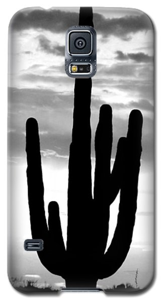 Galaxy S5 Case featuring the photograph Saguaro In Black And White by Elizabeth Budd
