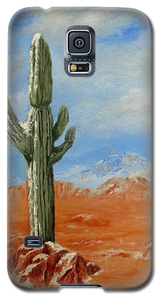 Galaxy S5 Case featuring the painting Saguaro In Snow by Roseann Gilmore