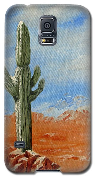 Saguaro In Snow Galaxy S5 Case by Roseann Gilmore