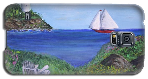 Galaxy S5 Case featuring the painting Lighthouse View by Debbie Baker