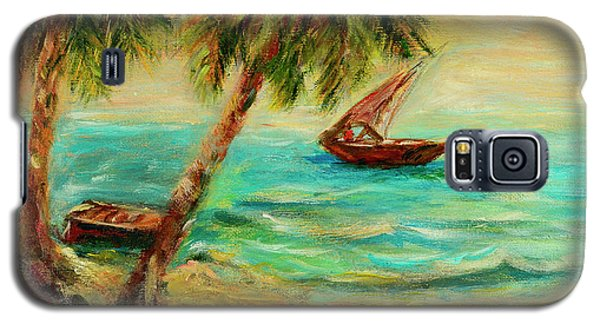 Galaxy S5 Case featuring the painting Sail Boats On Indian Ocean  by Sher Nasser