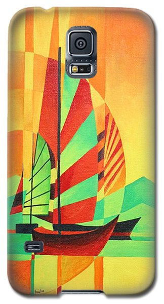 Galaxy S5 Case featuring the painting Sail To Shore by Tracey Harrington-Simpson