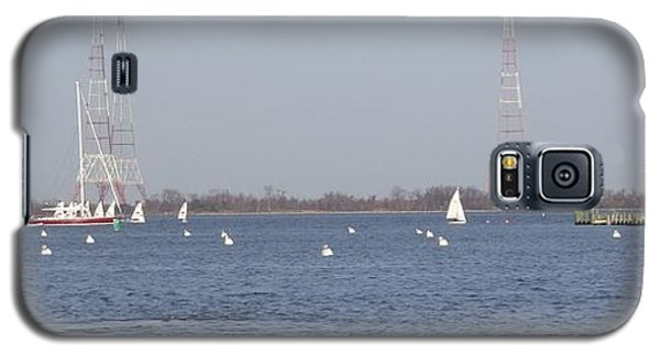 Galaxy S5 Case featuring the photograph Sailboats With Chesapeake Bay Bridge Beyond by Christina Verdgeline