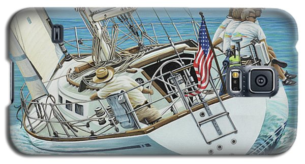 Galaxy S5 Case featuring the painting Sailing Away by Jane Girardot