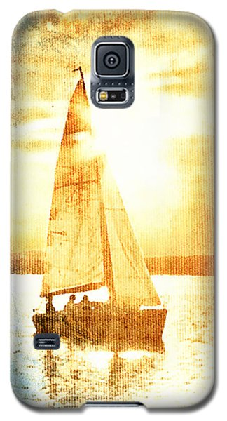 Galaxy S5 Case featuring the digital art Sailing In Orange by Andrea Barbieri
