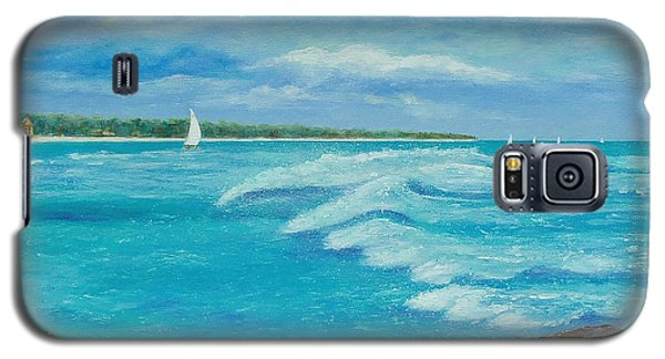 Galaxy S5 Case featuring the painting Sailing In The Bay by Susan DeLain