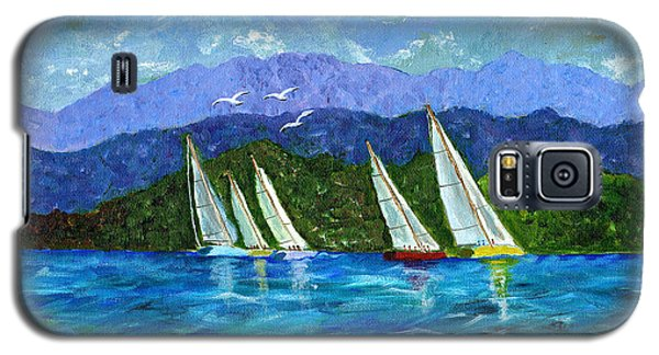 Galaxy S5 Case featuring the painting Sailing by Laura Forde