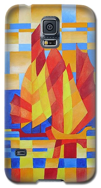 Galaxy S5 Case featuring the painting Sailing On The Seven Seas So Blue by Tracey Harrington-Simpson