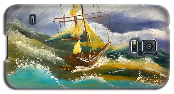 Galaxy S5 Case featuring the painting Sailing Ship In A Storm by Pamela  Meredith