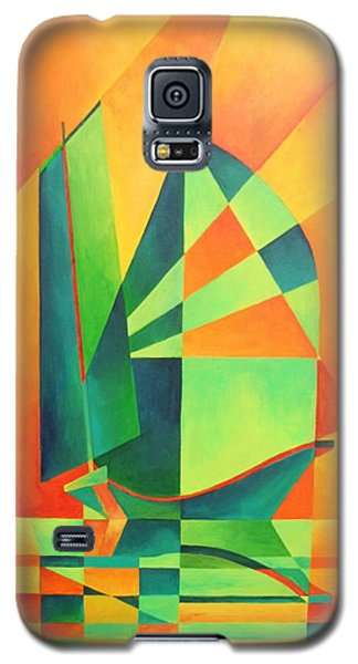 Galaxy S5 Case featuring the painting Sails At Sunrise by Tracey Harrington-Simpson