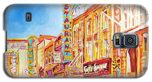 Galaxy S5 Case featuring the painting Saint Catherine Street Montreal by Carole Spandau