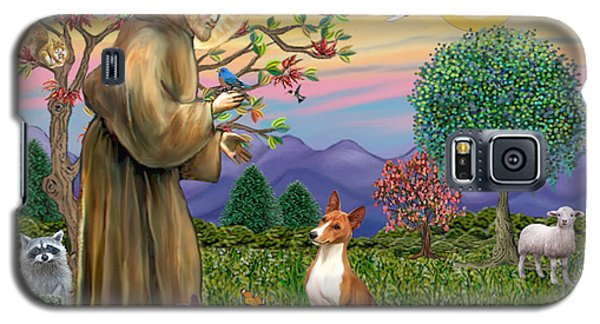 Galaxy S5 Case featuring the digital art Saint Francis Blesses A Basenji by Jean Fitzgerald