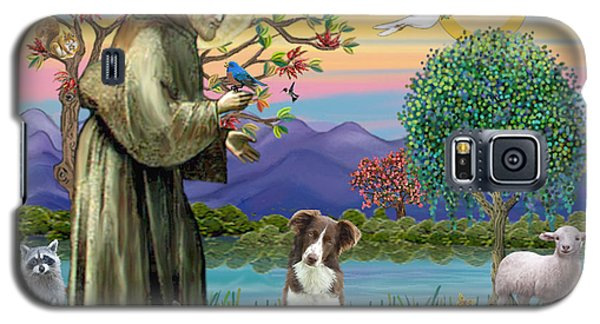 Saint Francis Blesses A Brown And White Border Collie Galaxy S5 Case