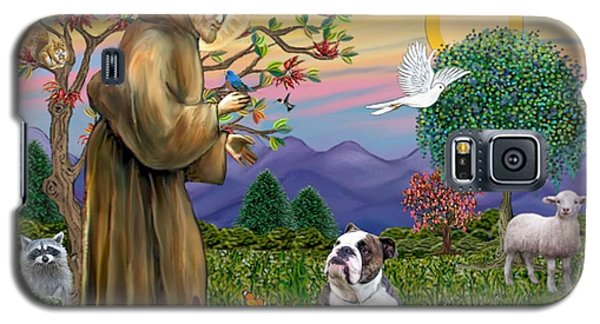 Galaxy S5 Case featuring the digital art Saint Francis Blesses A Brown And White English Bulldog by Jean B Fitzgerald