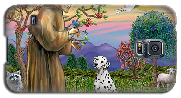 Galaxy S5 Case featuring the digital art Saint Francis Blesses A Dalmatian by Jean Fitzgerald