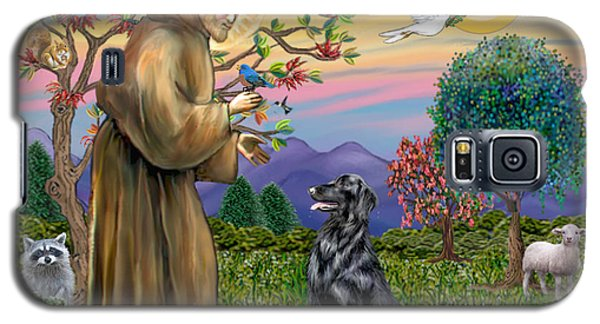 Galaxy S5 Case featuring the digital art Saint Francis Blesses A Flat Coated Retriever by Jean B Fitzgerald
