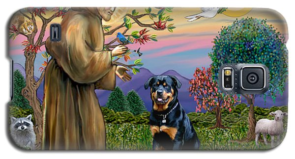 Galaxy S5 Case featuring the digital art Saint Francis Blesses A Rottweiler by Jean Fitzgerald
