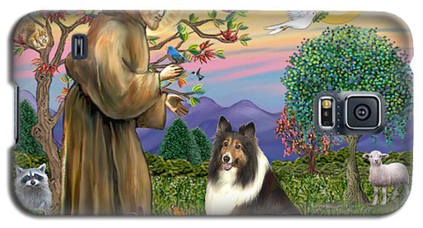 Galaxy S5 Case featuring the digital art Saint Francis Blesses A Sable And White Collie by Jean Fitzgerald