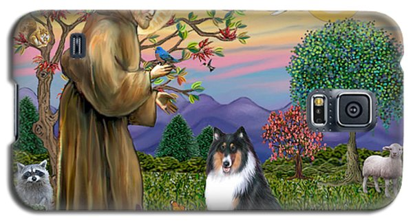 Galaxy S5 Case featuring the digital art Saint Francis Blesses A Tri Color Collie by Jean B Fitzgerald