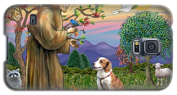 Galaxy S5 Case featuring the digital art Saint Francis Blesses A Welsh Springer Spaniel by Jean Fitzgerald