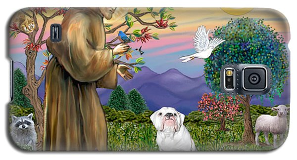 Galaxy S5 Case featuring the digital art Saint Francis Blesses An English Bulldog by Jean Fitzgerald