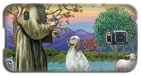 Galaxy S5 Case featuring the digital art Saint Francis Blesses An English Setter by Jean B Fitzgerald