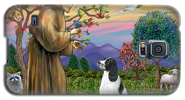 Galaxy S5 Case featuring the digital art Saint Francis Blesses An English Springer Spaniel by Jean Fitzgerald