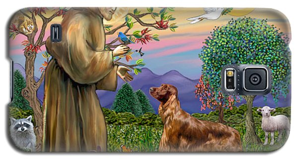 Galaxy S5 Case featuring the digital art Saint Francis Blesses An Irish Setter by Jean Fitzgerald