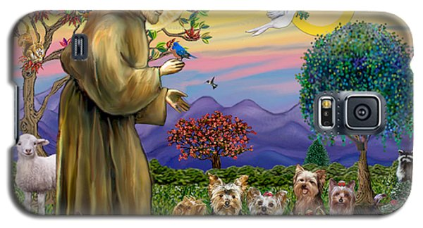 Galaxy S5 Case featuring the digital art Saint Francis Blesses Seven Yorkies by Jean Fitzgerald