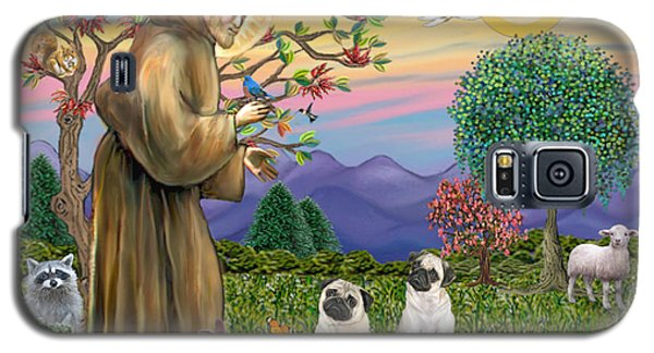 Galaxy S5 Case featuring the digital art Saint Francis Blesses Two Fawn Pugs by Jean Fitzgerald