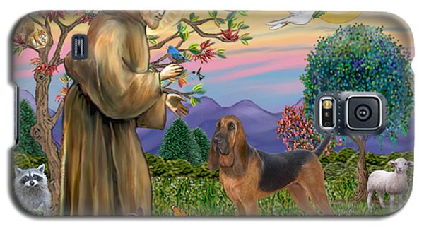 Galaxy S5 Case featuring the digital art Saint Francis Blessing A Bloodhound by Jean Fitzgerald