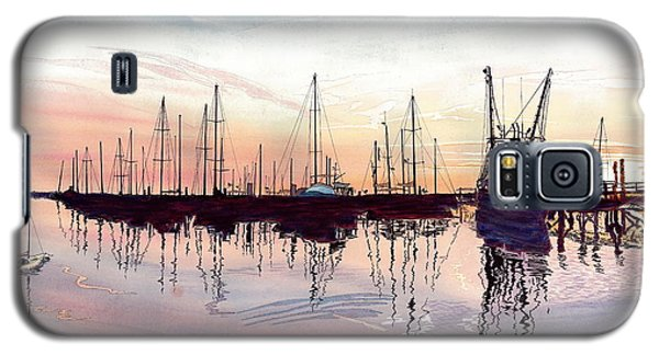Galaxy S5 Case featuring the painting Saint Marys Marina   Shadows Light And Fire by Joel Deutsch
