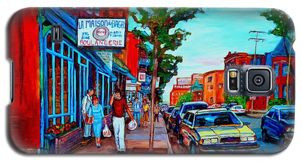 Galaxy S5 Case featuring the painting Saint Viateur Bagel Shop by Carole Spandau
