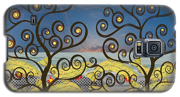 Galaxy S5 Case featuring the digital art Salmon Dance Blue by Kim Prowse