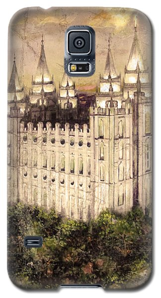 Salt Lake Temple In The Evening  Antique Pink Galaxy S5 Case