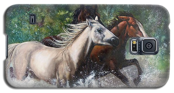 Galaxy S5 Case featuring the painting Salt River Horseplay by Karen Kennedy Chatham