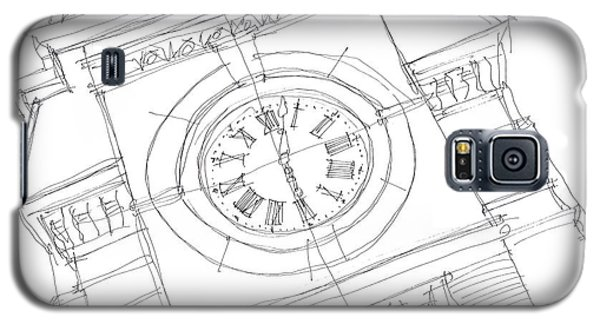 Galaxy S5 Case featuring the drawing Samford Clock Sketch by Calvin Durham