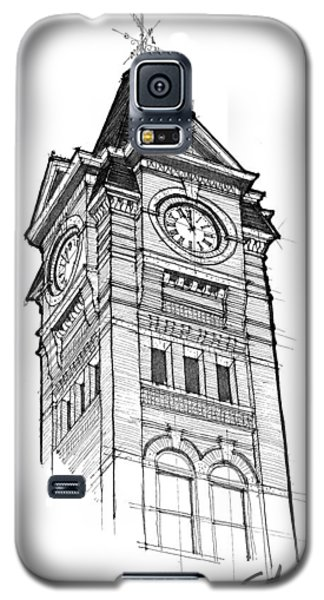 Galaxy S5 Case featuring the drawing Samford Hall by Calvin Durham
