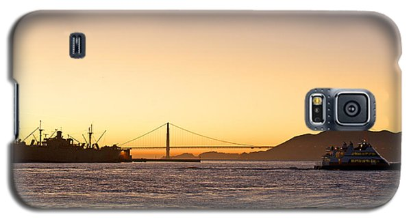 San Francisco Harbor Golden Gate Bridge At Sunset Galaxy S5 Case by Artist and Photographer Laura Wrede
