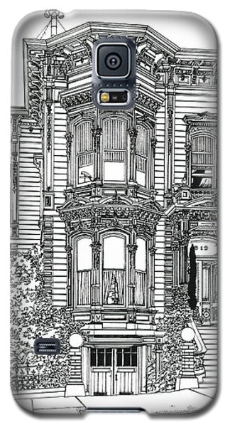 Galaxy S5 Case featuring the drawing San Francisco Victorian   by Ira Shander