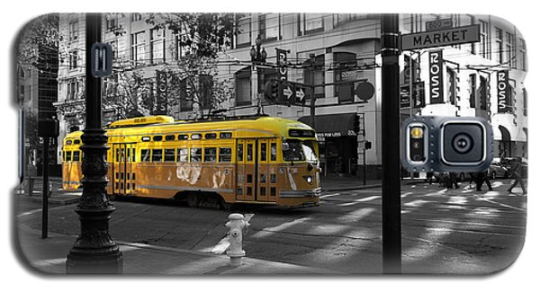 San Francisco Vintage Streetcar On Market Street - 5d19798 - Black And White And Yellow Galaxy S5 Case