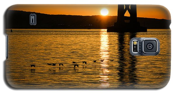 Galaxy S5 Case featuring the photograph San Francisco Bay Bridge Sunrise by Georgia Mizuleva
