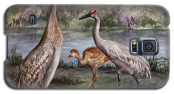 Galaxy S5 Case featuring the painting Sandhill Cranes On Alert by Roxanne Tobaison