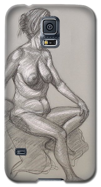 Galaxy S5 Case featuring the drawing Sandra Seated #3 by Donelli  DiMaria