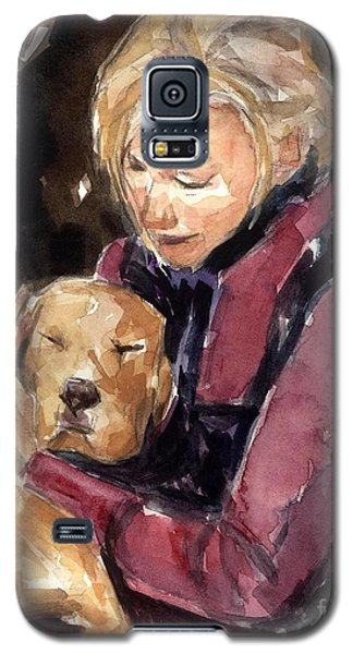 Galaxy S5 Case featuring the painting Sandy Grace And Me by Molly Poole