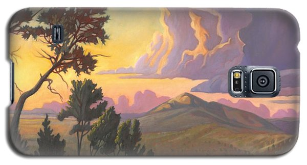 Galaxy S5 Case featuring the painting Santa Fe Baldy - Detail by Art James West