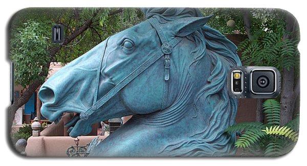 Galaxy S5 Case featuring the photograph Santa Fe Big Blue Horse by Sylvia Thornton